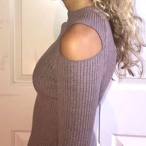 Kendall & Kylie Ribbed High neck Cut Out Sweater